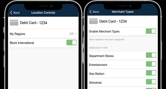 Debit Card Controls - Location Controls & Merchant Types