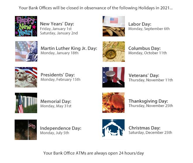 2021 Holiday Schedule