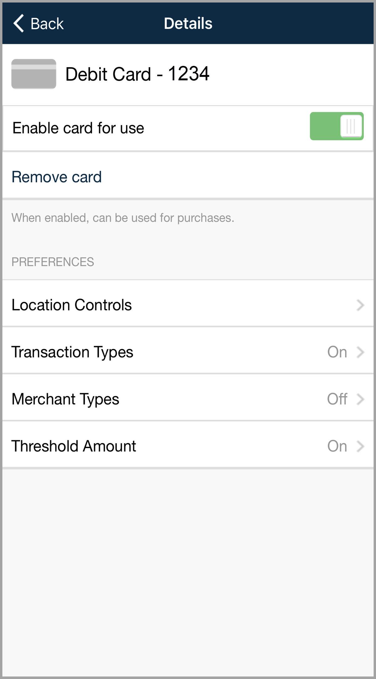 Card Controls - Details Screen