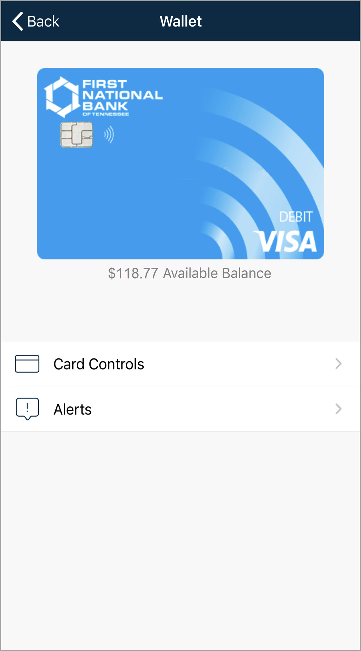 Card Controls - Home Screen